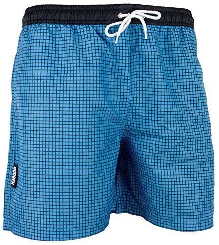 GUGGEN Mountain Badehose für Herren Schnelltrocknende Badeshorts Style-6 mit Kordelzug Beachshorts Boardshorts Schwimmhose Männer kariert Farbe Blau XL