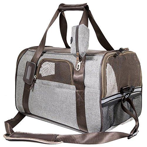 SCM Pets Fluggesellschaft zugelassen weichen Faltbox, Hand tragen tragbar Tasche Home für kleine Hunde, Katzen und Welpen (Multi-Grey, 44 x 25 x 28 cm)