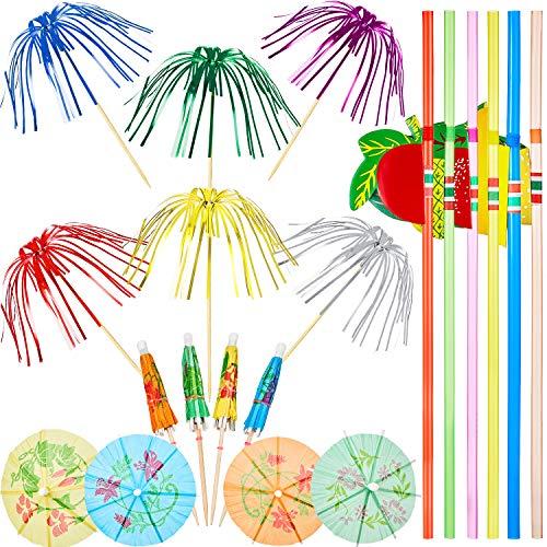 WILLBOND 200 Stücke Cocktail Party Dekorationen, Bestehend aus 100 Stücke Palme Baum Picks, 50 Stücke Mini Regenschirme Picks und 50 Stücke 3D Fruchtstroh, Gemischte Farbe