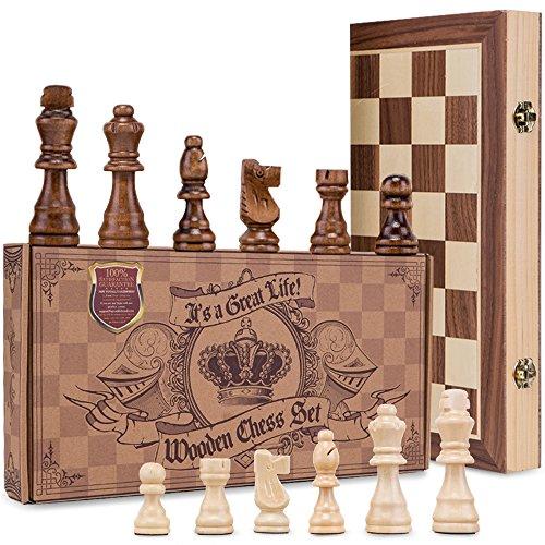 AGREATLIFE Königliches Schachspiel aus Holz handgefertigt - Hochwertiges Schachbrett aus Echtholz magnetisch - Wooden Chess Set Mittelalter klappbar 38x38 mit Aufbewahrungsbox