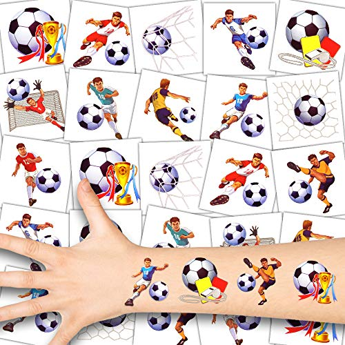 German Trendseller® 12 x Fußball Kinder Tattoos - Set - Fußballer ┃ Kindergeburtstag ┃ Mitgebsel ┃ Fußball Party ┃ 12 Tattoos