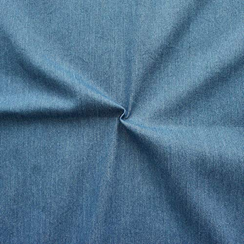 STOFFKONTOR Stretch Jeans Stoff Washed Denim Meterware Mittel-Blau