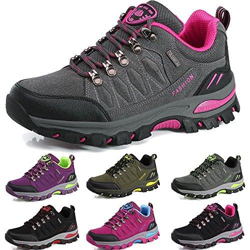 BOLOG Outdoor-Halbschuhe, Wanderschuhe, rutschfeste Kletterschuhe, leicht, atmungsaktiv, Trekkingschuhe für Damen und Herren, Grau - Grau/Pink - Größe: 39 EU