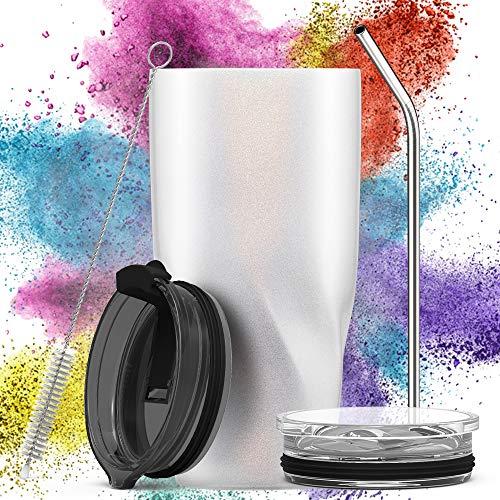 Avoalre Kaffeebecher to go Trinkbecher | Doppelwandig Vakuum Isolierter Autobecher mit Strohhalm 2 X Deckel Tumbler Coffee to go Becher-Weiß