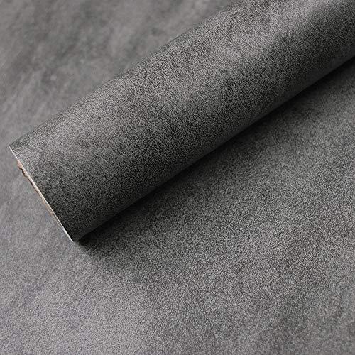 Hode Klebefolie BetonOptik Grau Folie Selbstklebende Dekofolie für Möbel Küche Tür Wand Wasserdicht ölbeständig Möbelfolie in Beton Stein-Optik Dunkelgrau 40X300cm