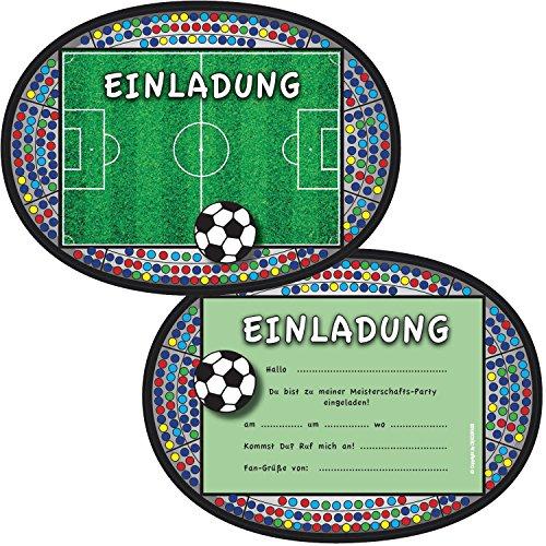 6 Einladungskarten * FUSSBALL-STADION * für Kindergeburtstag und Party von DEKOSPASS // Kinder Geburtstag Party Kinderparty Fussballparty Einladung Einladungen Karte Einladungs-Set Motto Mottoparty Fussballjunge Fussballer Fussball