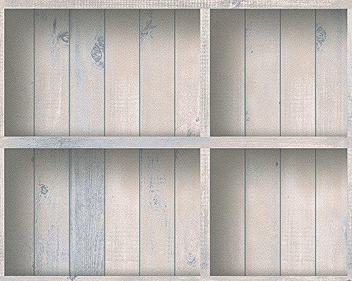 A.S. Création Papiertapete Dekora Natur Ökotapete Tapete in Holz Optik 10,05 m x 0,53 m blau creme grün Made in Germany 959491 95949-1