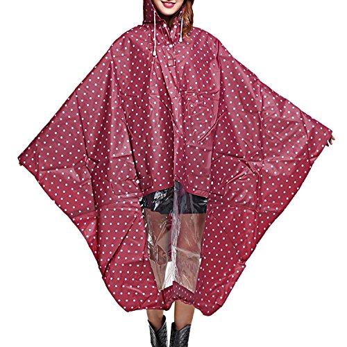 Sasairy Damen Regenponcho mit Kapuze Regenmantel mit Tupfen Muster Wasserdicht Regenjacke für Fahrrad/Motorrad/Reisen/Camping/Wandern(Rot)