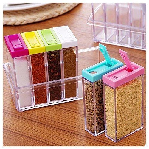 Ndier Transparent Spice Jar Würze Küche Speisewürze Box Acryl Würze Aufbewahrungsbox 6pcs/Set, Multi