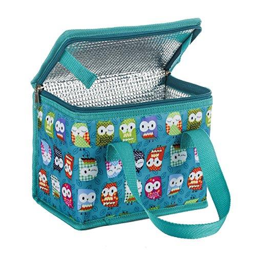 TEAMOOK Kühltasche Kleine Lunch Tasche Isoliertasche Lunchbag zur Arbeit Schule gehen 4 Liter, 22 x 17 x 12 cm Grüne Eule