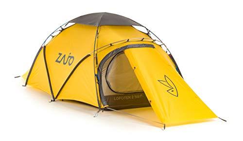 Zajo Outdoor Extrem Zelt Lofoten gelb 430 x 140 x 105 cm 2 Personen 2 Eingänge Geodät Expeditionszelt wasserdicht 10000 mm Wassersäule
