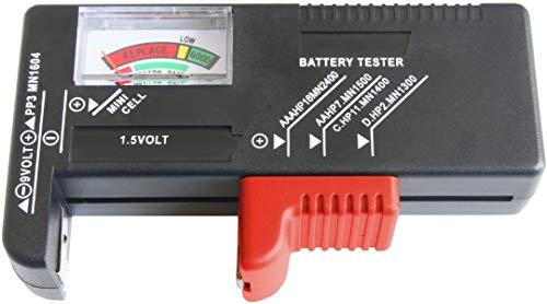 CON:P Batterietester - Mit analoger Anzeige - Zum Prüfen des Ladezustands - Ideal für Batterietypen AAA, AA, C, D (1,5 Volt  & 9 Volt) - Einfache Bedienung / Batterie-Prüfgerät / Messgerät / B29821