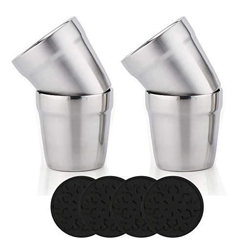Youda delstahl Doppelwandige Tassen + Silikon Coaster(4er Set) Stapelbar, Kaffeetasse/Teetasse/Chillen Biergläser, Edelstahl Becher Ideal für Reisen, Outdoor, Camping, und Jeden Tag, 6Unze(175 ml)