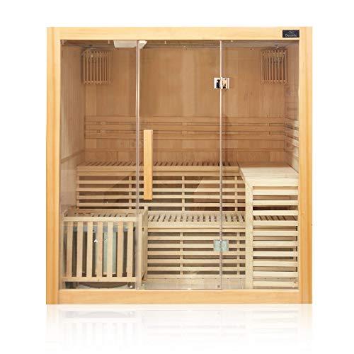Dewello Finnische Traditionelle Sauna SARNIA 180cm x 140cm inkl. 6 KW Harvia Ofen, inkl. komplettem Zubehör