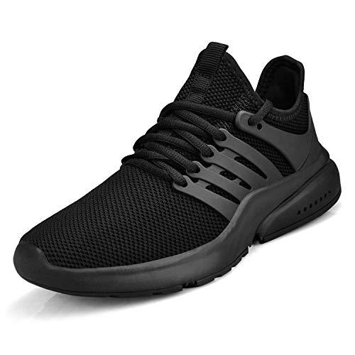 ZOCAVIA Schwarze Turnschuhe für Herren Damen Leichte atmungsaktive Laufschuhe Spazierengehen Sportschuhe Outdoor-Schuhe Schwarz 45
