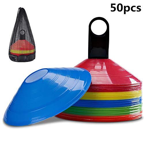 byou Markierungshütchen 50 stück Gemischte Farben Fußballhütchen mit Kunststoffhalter und Mesh-Tragetasche für Sport Fussball Basketball Handball Football