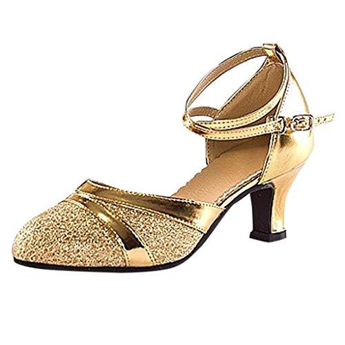 Lenfesh Damen Mode Elegant Ballsaal Tango Latein Tanzschuhe Party Hochzeit Sozial Pailletten Schuhe Weicher Absätze Tanzschuh/Ballsaal Standard Latein Dance Schuhe