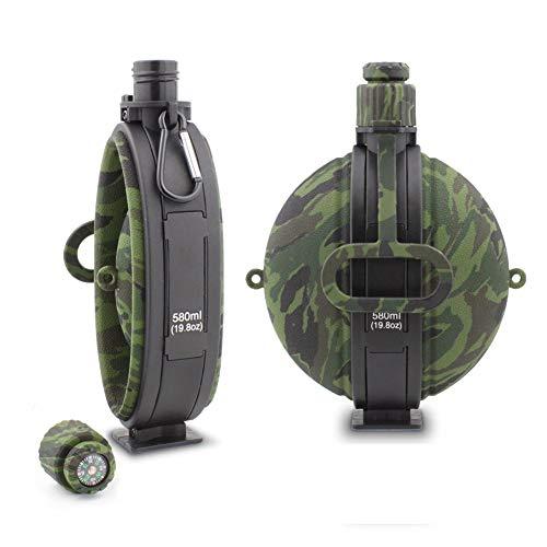 Hombes Outwell Faltbare Wasserflasche, lebensmittelechtes Silikon, BPA-frei, tragbare Reise-Wasserflasche für Camping, Outdoor, Wandern, 580 ml, Army Green Camouflage