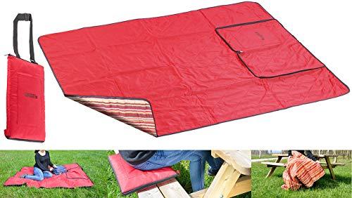 PEARL Reisedecke: 3in1-Multi-Picknickdecke mit Sitzkissen & Zudecke, waschbar, 150x130cm (Strandmatten)