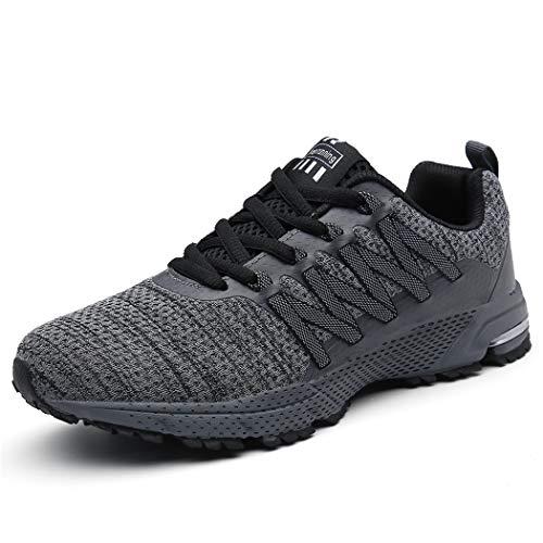 SOLLOMENSI Laufschuhe Damen Herren Sportschuhe Straßenlaufschuhe Sneaker Joggingschuhe Turnschuhe Walkingschuhe Schuhe 45 EU B Grau