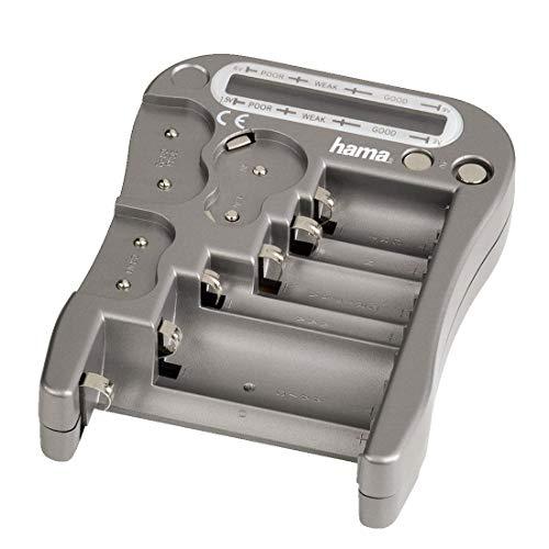 Hama Batterietester Universal für Akkus und Batterien, Testgerät mit LCD-Anzeige der Restspannung und Knopfzellen-Test, silber