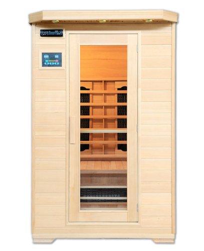 Artsauna Infrarotkabine Oslo mit Keramikstrahler | 2 Personen Sauna Kabine aus Hemlock Holz | 120 x 100 cm | Infrarotsauna Infrarot Wärmekabine