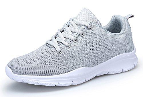 DAFENP Unisex Herren Damen Turnschuhe Laufschuhe Sport Fitness Running niedrige Sneakers Innen Casual für Draußen, Grau - grau - Größe: 45 EU