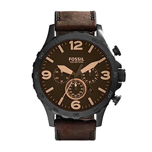 Fossil Herren Analog Quarz Uhr mit Leder Armband JR1487