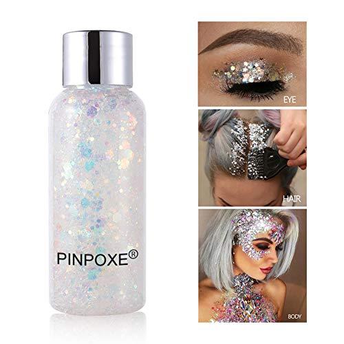 Glitter Make Up, Glitzer Gesicht, Glitzer Körper, Körperglitzer, Silber Holografischer Glitzer Sequin Chunky Glitter für Gesicht Nägel Augen Lippen Haare Körperm, für Halloween Party Weihnachten
