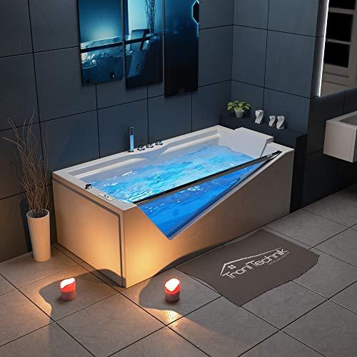 Tronitechnik Whirlpool Badewanne Rhodos 180cm x 90cm inkl. Heizung, Hydromassage und Farblichtherapie