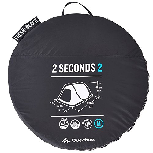 Quechua 2 Seconds Easy II FRESH & BLACK 2 Man Waterproof Pop Up Camping Tent by Quechua