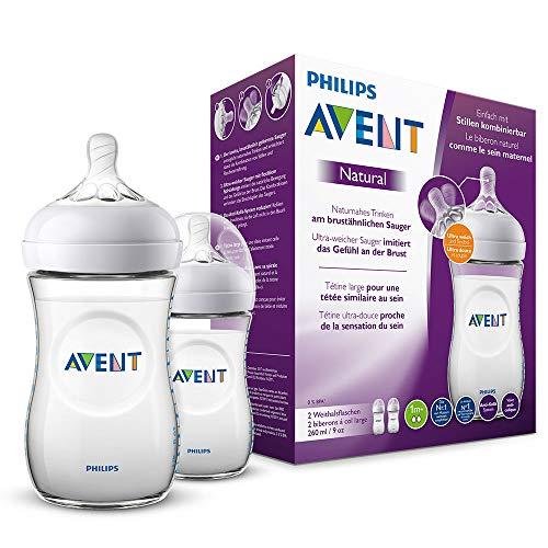Philips Avent Natural Flasche SCF033/27, 260 ml, naturnahes Trinkverhalten, Anti-Kolik-System, transparent, 2er Pack