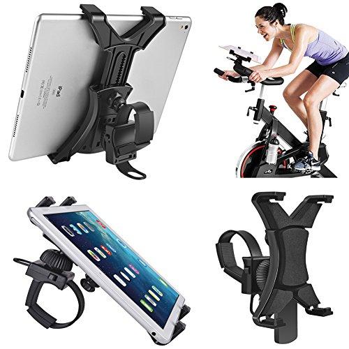 Tablet-Halterung für Drehrad, universelle iPad-Halterung für Innen, Fitnessstudio, Laufband, Heimtrainer, verstellbar, 360° drehbar, für Tablets und iPads von 17,8-30,5 cm (7-12 Zoll)